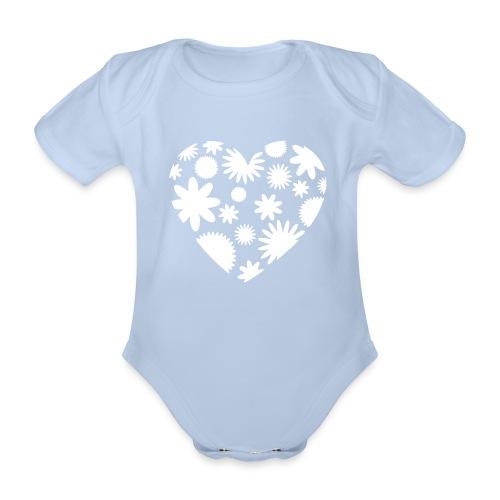 Blütenherz-Body - Baby Bio-Kurzarm-Body