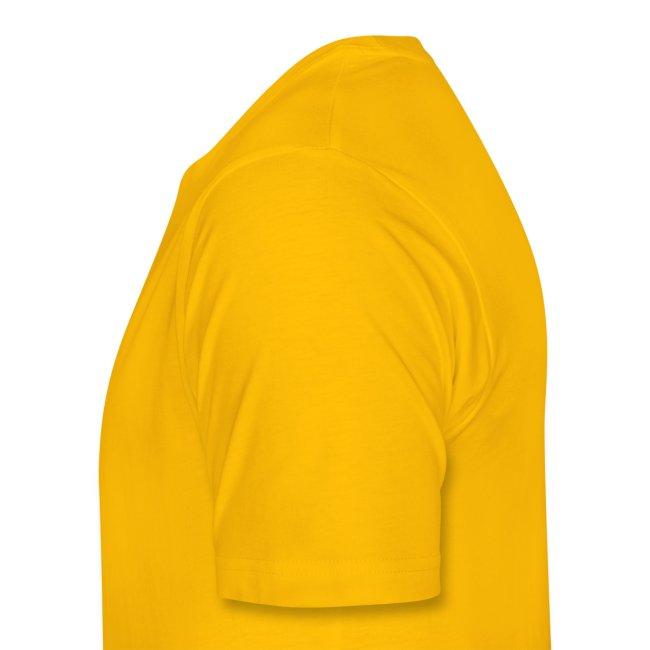 Schriftzug und Rückendruck gelb