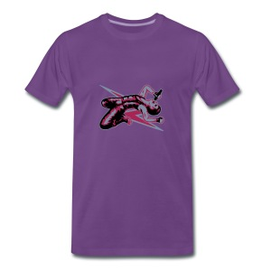 Rock God-Silver/Fuchsia - Men's Premium T-Shirt