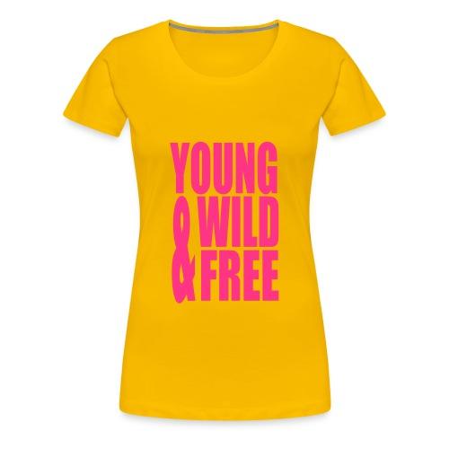 Shirt Young, Wild & Free Geel - Vrouwen Premium T-shirt