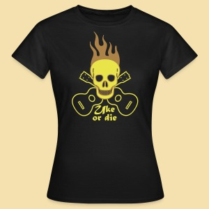 Girlshirt: Burning Skul Uke or die (Motiv: gelb/ light brown) - Frauen T-Shirt