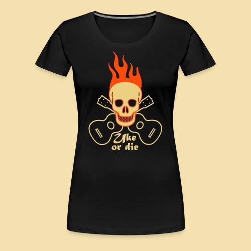 XL Girlshirt: Burning Skul Uke or die (Motiv: beige/neonorange) - Frauen Premium T-Shirt