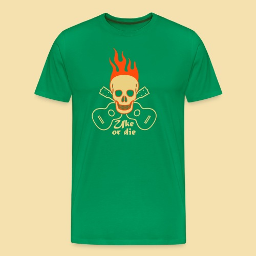 XL Menshirt: Burning Skul Uke or die (Motiv: beige/neonorange) - Männer Premium T-Shirt