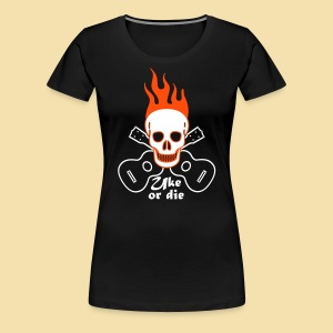 Girlshirt: Burning Skul Uke or die (Motiv: weis/ neonorange) - Frauen Premium T-Shirt