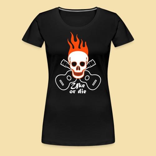 Girlshirt: Burning Skul Uke or die (Motiv: weis/ neonorange) - Frauen Premium T-Shirt