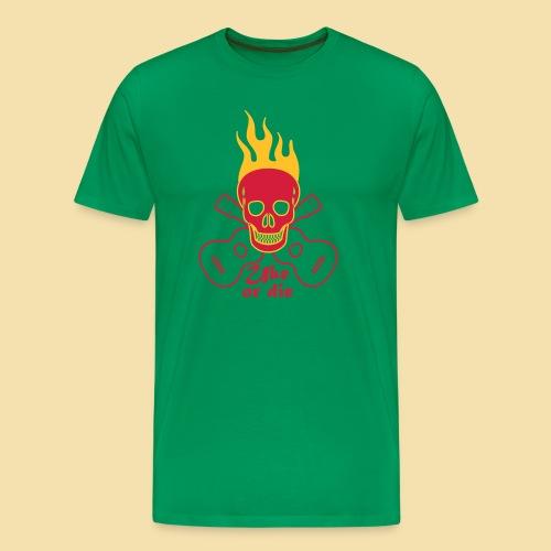 Menshirt: Burning Skul Uke or die (Motiv: rot/gelb) - Männer Premium T-Shirt