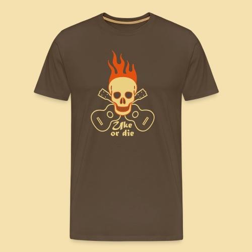 Menshirt: Burning Skul Uke or die (Motiv: beige/orange) - Männer Premium T-Shirt