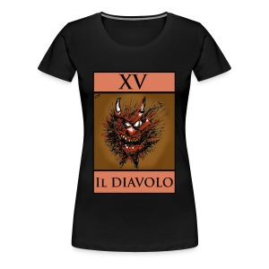 Tarot, Ladies Black T Shirt - The Devil XV - Women's Premium T-Shirt