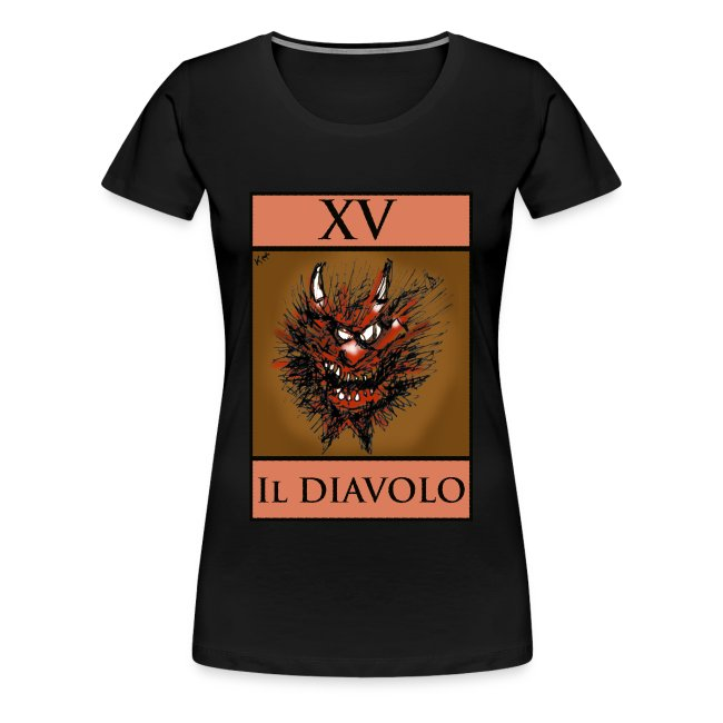 Tarot, Ladies Black T Shirt - The Devil XV