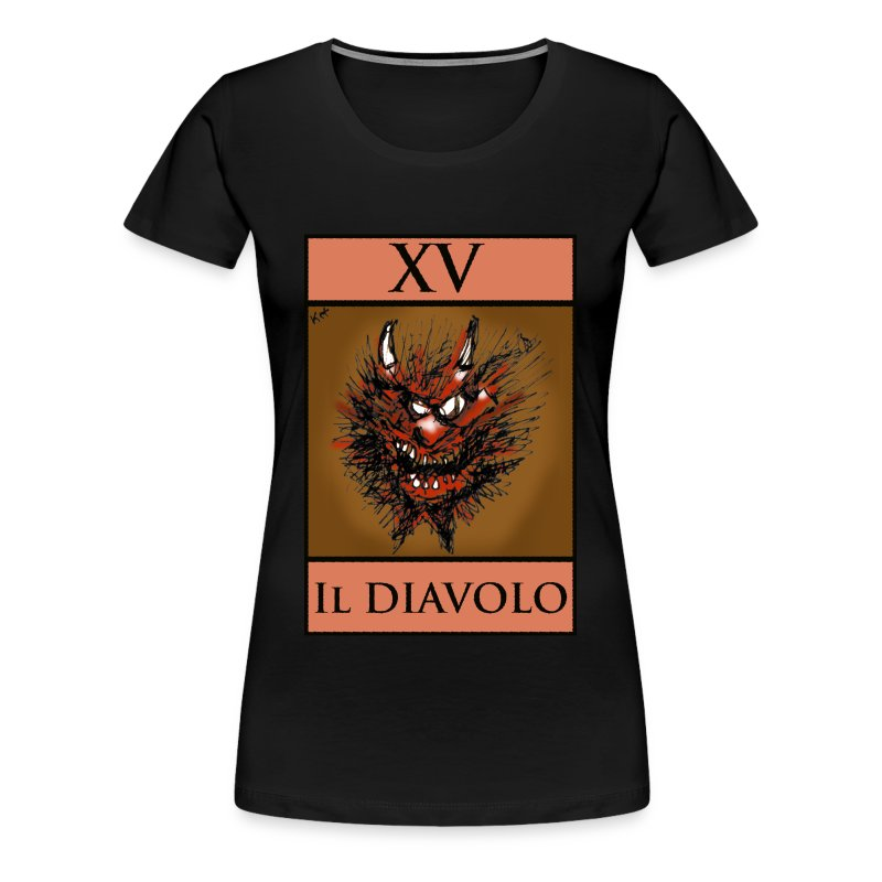 Tarot, Ladies Black T Shirt - The Devil XV - Women's Premium T-Shirt