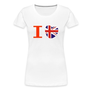 I heart I love Union Jack British flag heart T-Shirts - Women's Premium T-Shirt