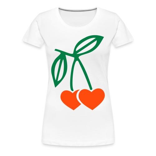 Cerises coeurs - T-shirt Premium Femme