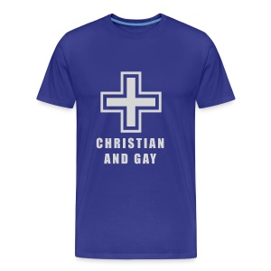 Christian and Gay Blue/Silver - Men's Premium T-Shirt