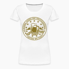 Divertente i love beer di sport invernali Sci e party licenza distintivo emblema per addio al celibato in discoteca fare apres studenti sci  T-shirt