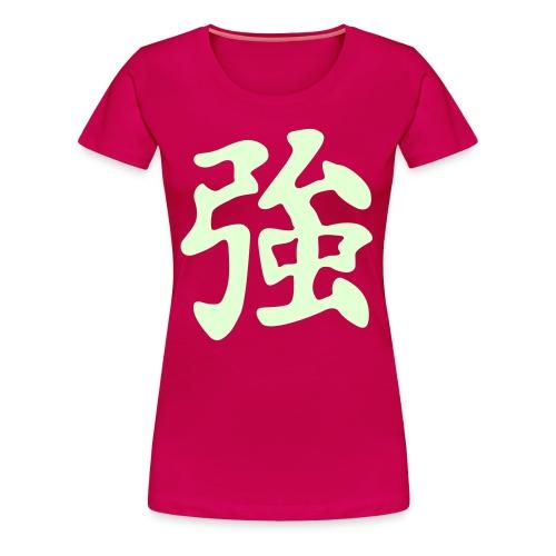 Stärke, Kraft - Motiv leuchtet im Dunkeln - Frauen Premium T-Shirt