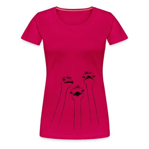 tier t-shirt vogel strauss ostrich langhals hals lang schnabel emu - Frauen Premium T-Shirt