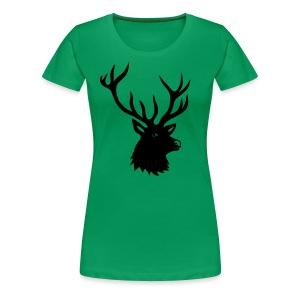 tiershirt t-shirt hirsch röhrender brunft geweih elch stag antler jäger junggesellenabschied förster jagd - Frauen Premium T-Shirt