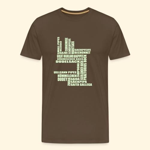 Männer T-Shirt - Sackpfeifen Textwolke - nachtleuchtend - Männer Premium T-Shirt