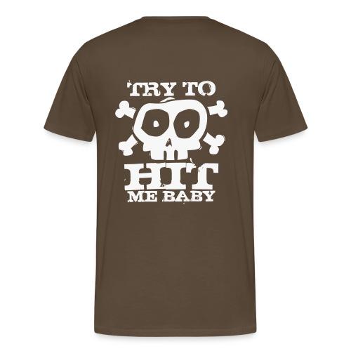 Herren Airsoft T-Shirt Try to Hit weiß glitzer   Airsoftshirt - Männer Premium T-Shirt
