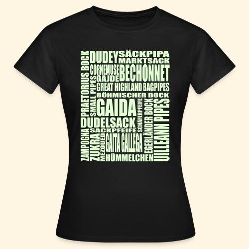 Frauen T-Shirt - Sackpfeifen Wortsalat - Nachtleuchtend - Frauen T-Shirt