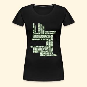 Frauen ÜbergrößenShirt - Sackpfeifen Textwolke - nachtleuchtend - Frauen Premium T-Shirt