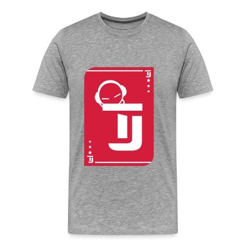 Männer Premium T-Shirt - T-Jirt in Asche Druck: Rot/Weiß - Flexdruck