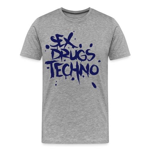 Sex Drugs Techno _ Szary Melanż - Koszulka męska Premium
