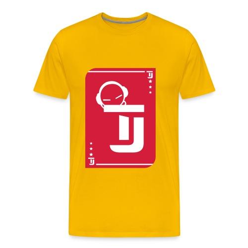 Männer Premium T-Shirt - T-Jirt in Gelb Druck: Rot/Weiß - Flexdruck