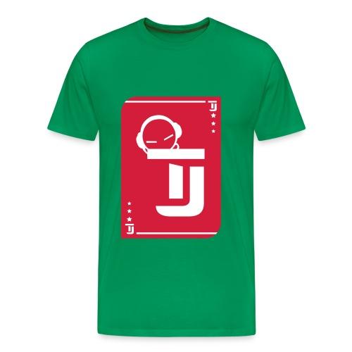 Männer Premium T-Shirt - T-Jirt in Grün Druck: Rot/Weiß - Flexdruck