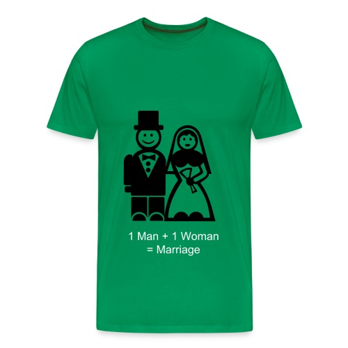 Men's Premium T-Shirt - Marriage T- Shirt. Wear with pride, letting the world see that you support traditional marriage, between 1 man and 1 woman.