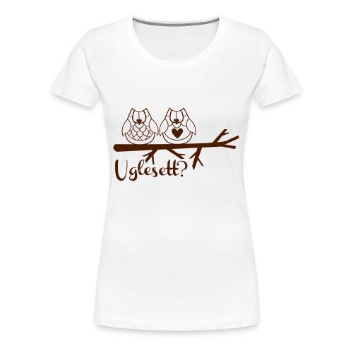 Uglesett dame t-skjorte hvit - Premium T-skjorte for kvinner