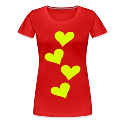 hartjes shirt, gelen hartjes/letters. - Vrouwen Premium T-shirt