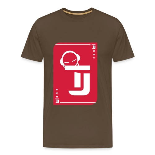 Männer Premium T-Shirt - T-Jirt in Braun Druck: Rot/Weiß - Flexdruck