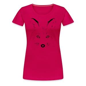 tier t-shirt fuchs fox fuchsig katze augen silhouette sketch - Frauen Premium T-Shirt