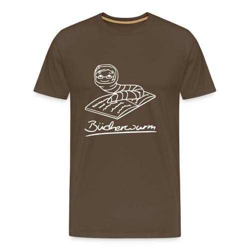 Motiv: Bücherwurm   Druck: weiß   verschiedene Farben - Männer Premium T-Shirt