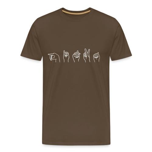 Viittomapaita, ruskea - Miesten premium t-paita