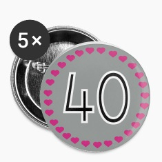 White 40th birthday Buttons