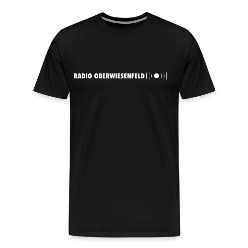 T-Shirt (schwarz) mit hellblauem Schriftzug - Männer Premium T-Shirt