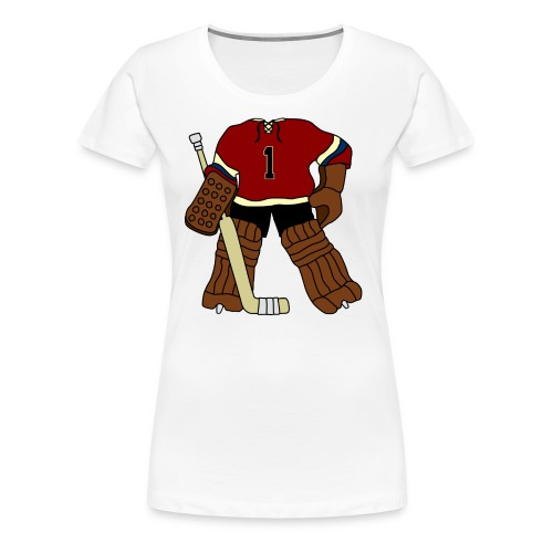 Vintage Ice Hockey Goalie Women's Girlie T-Shirt - Women's Premium T-Shirt