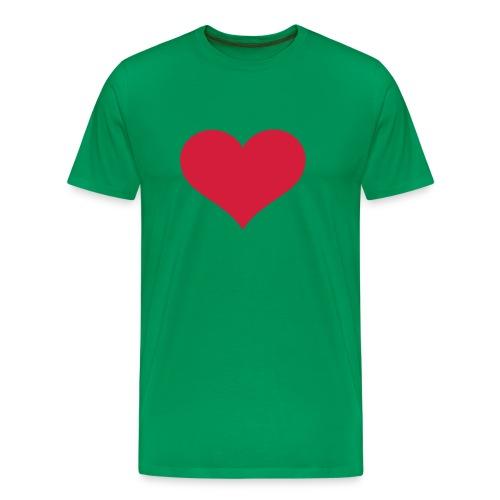 Green T-Shirt with Heart - Men's Premium T-Shirt