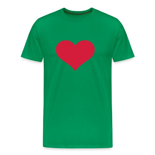 Green T-Shirt with Heart - Men's Premium T-Shirt