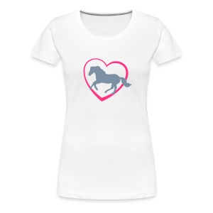 Galloping Horse with Heart T-shirt - Women's Premium T-Shirt