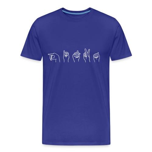 Viittomapaita, sininen - Miesten premium t-paita
