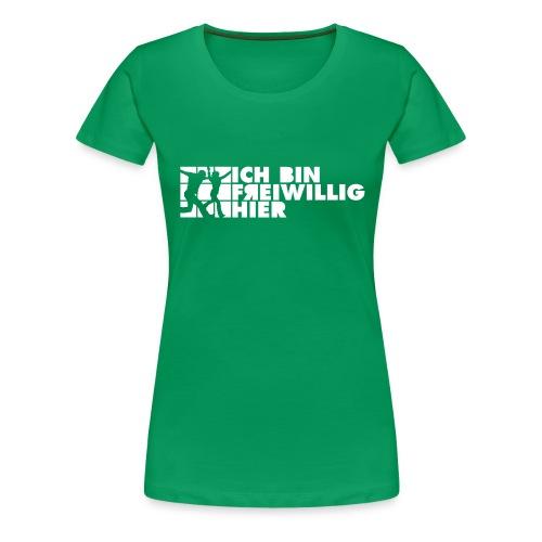 Frauen-T-Shirt (farbig) 2-seitiger, weißer Druck - Frauen Premium T-Shirt