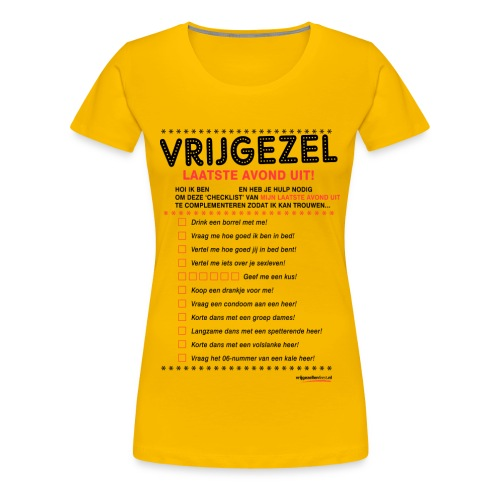 Vrijgezellenshirt voor de Dame Geel - Vrouwen Premium T-shirt