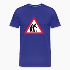 Caution Old People Crossing Traffic Sign T-Shirts