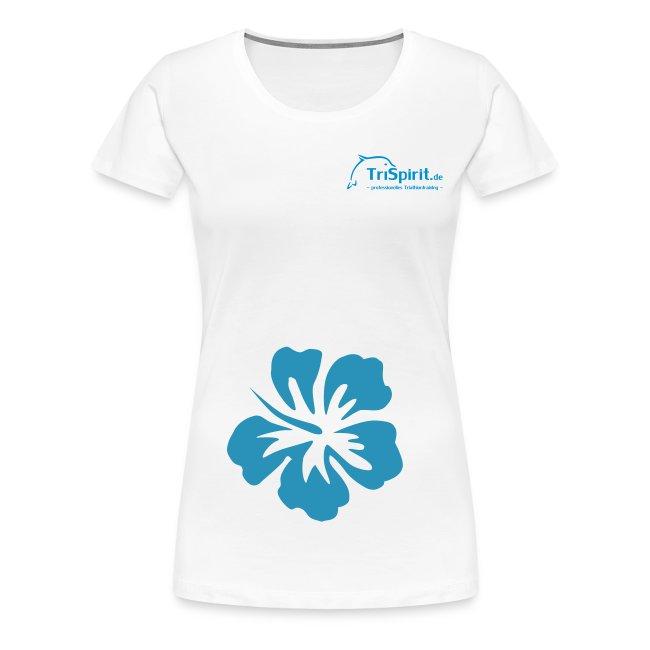 Cordula Kontrastshirt grosse Blume blaues Logo