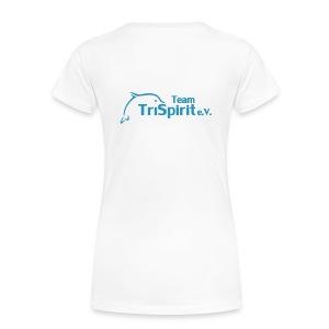 Cordula Kontrastshirt grosse Blume blaues Logo - Frauen Premium T-Shirt