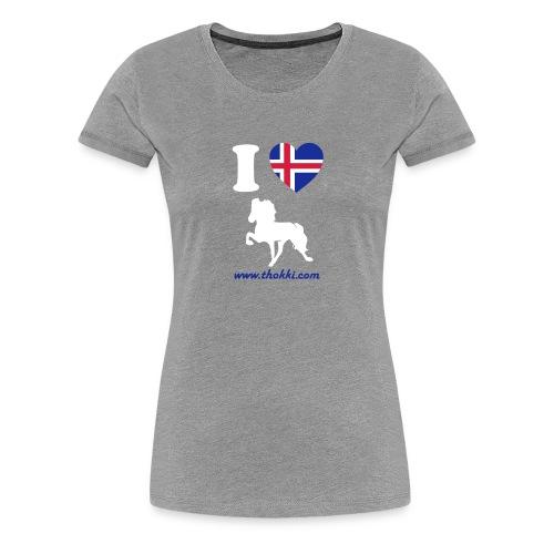 Damenshirt I love Tölt grau - Frauen Premium T-Shirt