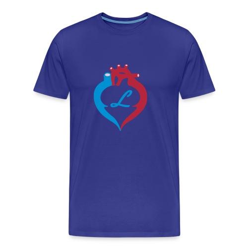 Logo forside + tekst bakside - Premium T-skjorte for menn